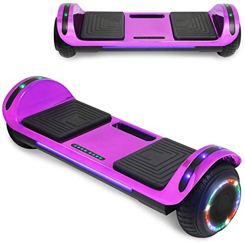 """TPS 6.5"""" Chrome Hoverboard Electric Self Balancing Scooter with Bluetooth LED Lights UL2272 Certified (Purple)"""