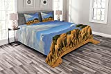 ABAKUHAUS Schneeberg Tagesdecke Set, African Elephant Herd, Set mit Kissenbezügen Sommerdecke, 264 x 220 cm, Azurblau & Multicolor