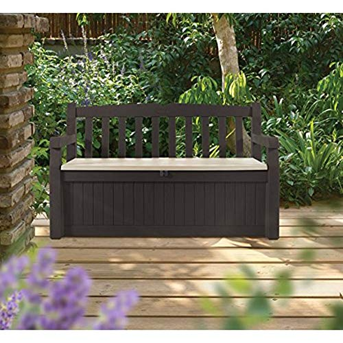 KETER Eden 70 Gallon All Weather Outdoor Patio Storage Garden Bench Deck Box (Brown/Brown)