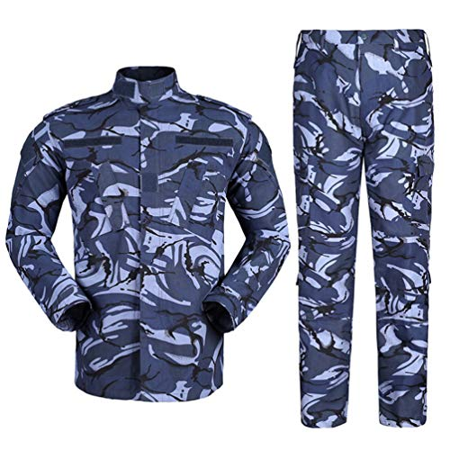 Zhiyuanan Herren Tactical Camouflage Uniform Anzug 2 Stück Sets Outdoor Jagd Trekking Camping Militär Kampf wasserdichte Wandern Jacken + Camo Hosen Tarnmuster Kleidung Britische Marine XL