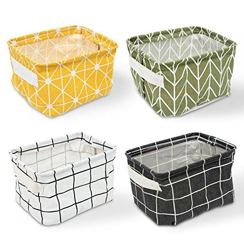 Erlliyeu 4 Pack of Folding Aufbewahrungsbox Faltbox, Small Baby Linen Storage Organizer Sets Plastic Storage Box Organizer (A)