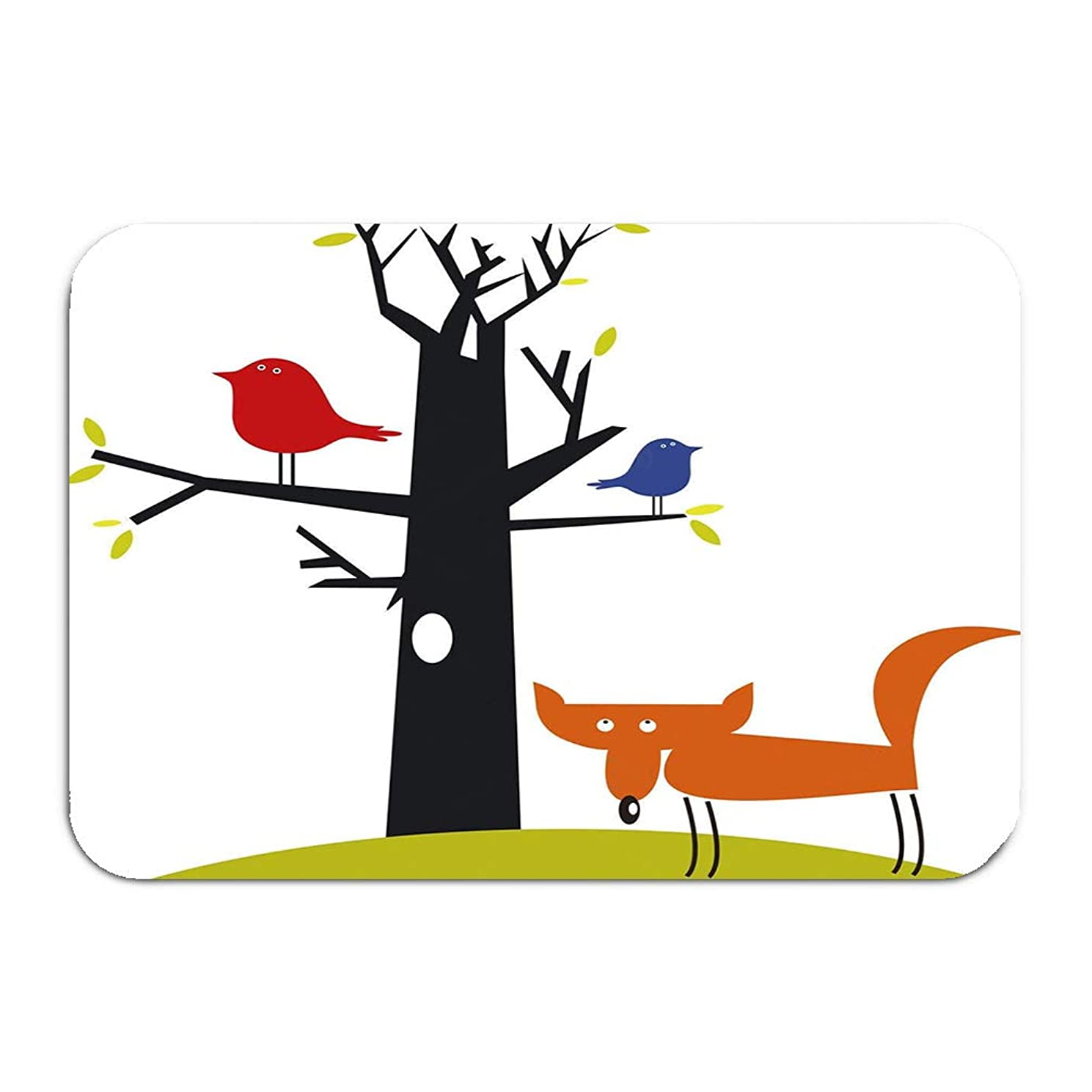 zexuandiy Print Bath Rugs Bathroom Accessories Non-Slip Doormat Floor Entryways Indoor Front 23.6 by 15.7 Inch Funny Fox Birds Dreamy
