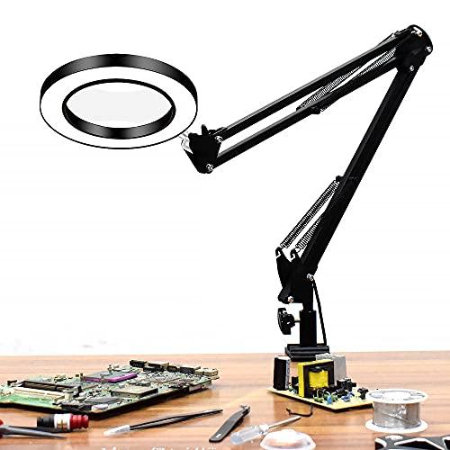 Flexibler Schreibtisch groß 33 cm+ 33 cm 5X USB-LED. Lupe 3 Farben Beleuchtete Lupe Lupe Lupe Lesen/Überarbeiten/Löten mit langer Halterung