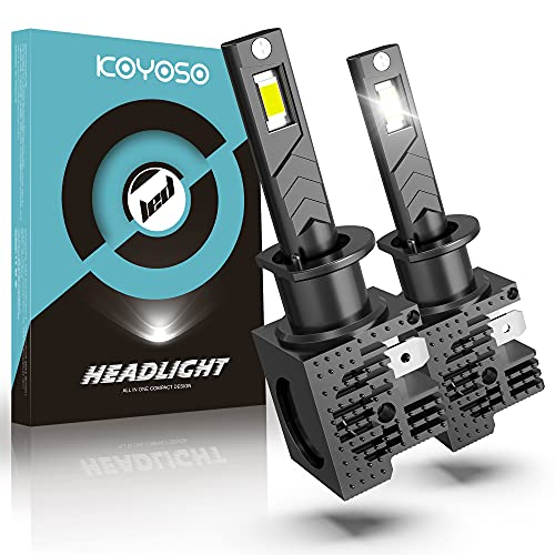 Ampoules H1 LED pour Voiture, KOYOSO 60W 12000LM LED Feux de Route, Feux de Croisement et Antibrouillard Lampe, 6500K Blanc, 12V