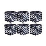 Amazon Basics - Cajas de almacenamiento de tela, con forma de cubo, plegables, con ojales metálicos, 6 unidades, diseño enrejado