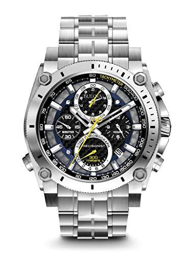 Bulova Precisionist Chronograph Mens Watch, Stainless Steel, Silver-Tone (Model: 96B175)