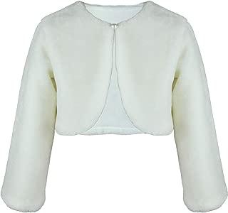 Abbyabbie.Li Girls Princess Faux Fur Bolero Shrug Long Sleeve Girl Dress Coat for Party Wedding