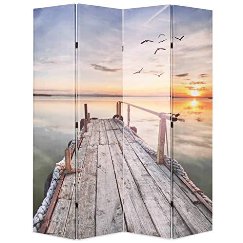 vidaXL Raumteiler klappbar 160x170cm See mit Steg Paravent Spanische Wand