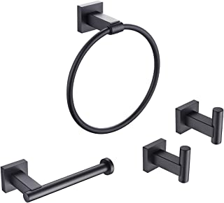 KLXHOME Matte Black 4-Piece Bathroom Hardware Kit Set Stainless Steel Wall Mount - Includes Towel Rings, Toilet Paper Hold...