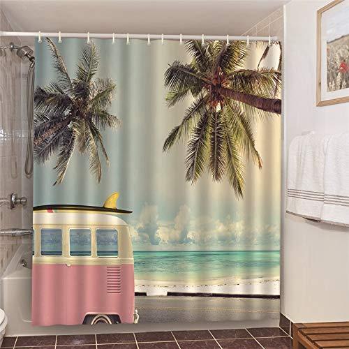 XCBN Rideaux de Douche de Salle de Bains de Produit de Bain de Soleil d'été avec la décoration d'hôtel écran occultant 3D A2 150x180cm