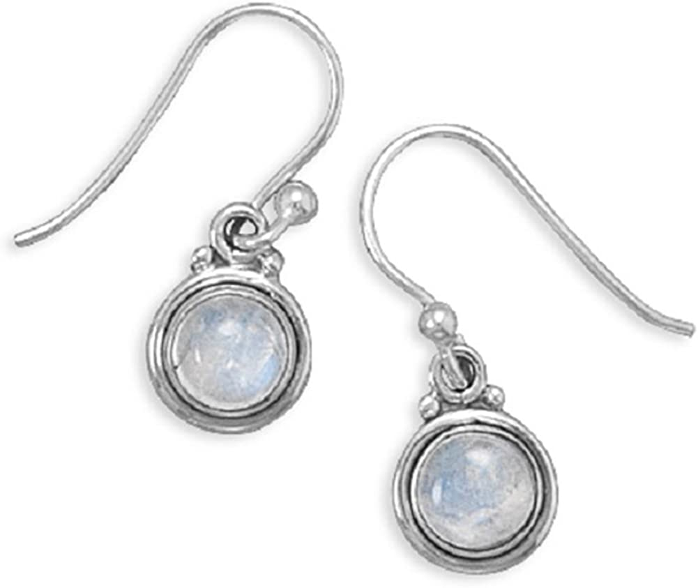 Rainbow Moonstone Polished free shipping Ranking TOP17 Edge Round Sterling Silver Earrings