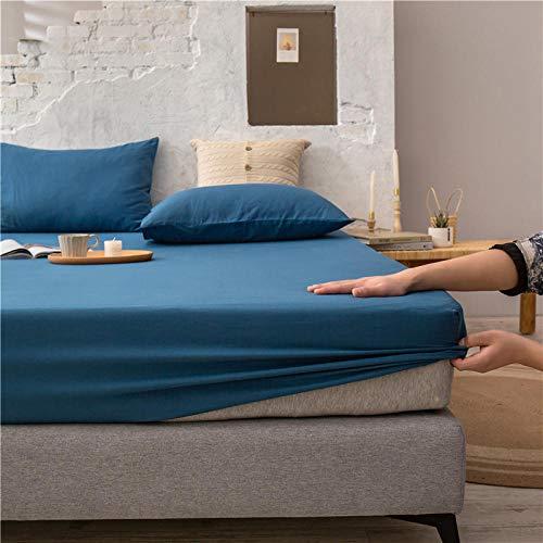 FJMLAY Sábanas ajustablesExtra Suave,Sábanas Bajeras de Algodón de Color Puro, Protector Antideslizante para Alfombrilla para Dormitorio Apartment-Blue_150cmx200cm