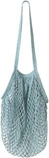 Yeefant Durable Reusable Fruit String Grocery Shopper Cotton Tote Mesh Woven Long Portable and Convenient Shopping Net Shoulder Bag,Washable,Wear Resisting,Blue