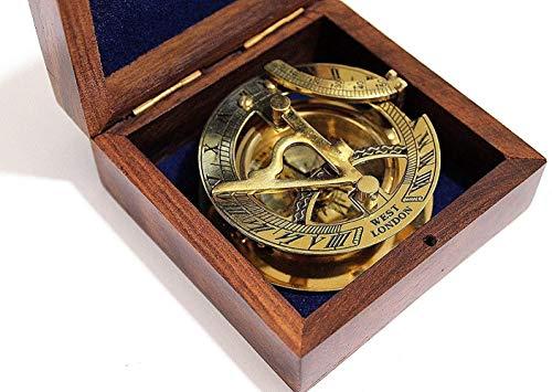 Ganga Nautical 7,6 cm große Sonnenuhr-Kompass mit Teakholz-Box, eingelegt mit massivem Messing.