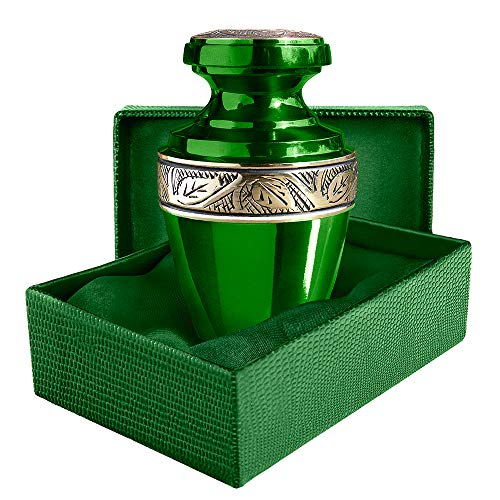 Serenity Green Beautiful Small Mini Keepsake Urn for Human Ashes - Qnty 1 - with Velvet Case