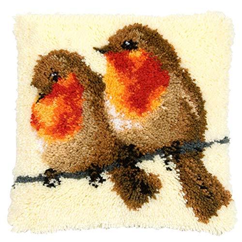 UR MAX BEAUTY Las Aves De Alfombras Kits De Bordado Punto De Cruz Almohada Latch Hook Rug Kits De Crochet Botón Paquete Alfombra, Decoración del Hogar, 43X43 Cm