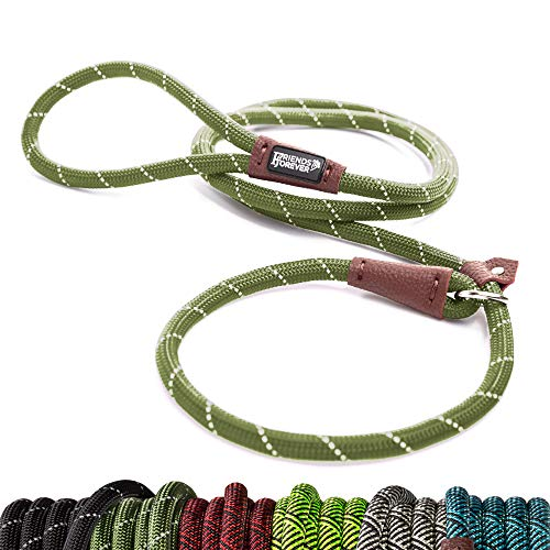 Friends Forever Extremely Durable Dog Rope Leash, Premium Quality Mountain Climbing Rope Lead, Strong, Sturdy Comfortable Leash Supports The Strongest Pulling Large Medium Dogs 6 feet, Olive