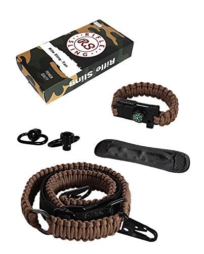 RS RIFLE SLING Traditional 2-Point 550 Paracord Complete Bundle | Two Point Strap | Bonuses Sling Swivels & Survival Bracelet