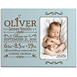 Personalized New Baby Birth Announcement Picture Frame for Newborn Boys and Girls Custom Engraved Photo Frame for New mom and dad Parents and Grandparents (Light Blue)