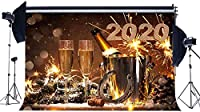 HDHappy HD Year2020背景10x7ftビニールクリスマス背景シャンパンラッキーチャームホースシューボトルバケットボケ写真背景HDYears Eve Party Photo Studio Props107