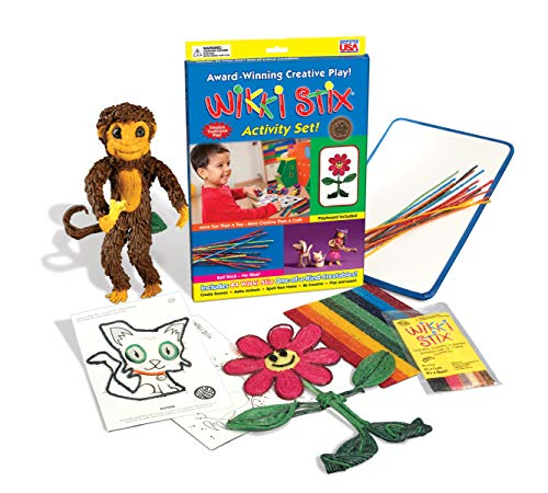 Arts and Crafts for Kids Activity Set with Playboard and Booklet, Non-Toxic, Waxed Yarn, Fidget Toy, Reusable Molding and Sculpting Playset, 84 Count, American Made by Wikki Stix