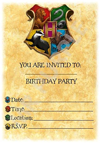 Harry Potter Verjaardagsfeestje Uitnodigingen - Zweinstein Kleurrijke Crest Thema Feestbenodigdheden/Accessoires (Pak van 12 A5 Uitnodigingen) WITH Envelopes
