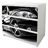 banjado Möbelfolie passend für IKEA Malm Kommode 3 Schubladen | Möbel-Sticker selbstklebend | Aufkleber Tattoo perfekt für Wohnzimmer und Kinderzimmer | Klebefolie Motiv Car