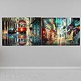 Arte de la Lona Pintura al óleo Retro Lisboa Ciudad Paisaje de la Calle en Carteles e Impresiones Imagen de Pared escandinava para Sala de Estar Adornar (50x70cmx2 / sin Marco)