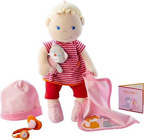Haba - 303724 - babypop Jule | stoffen pop om te knuffelen en te spelen met accessoires, pop met muts, fopspeens, fopspeenketting, knuffeldeken, knuffeldier en geboorteplezier | vanaf 1 jaar