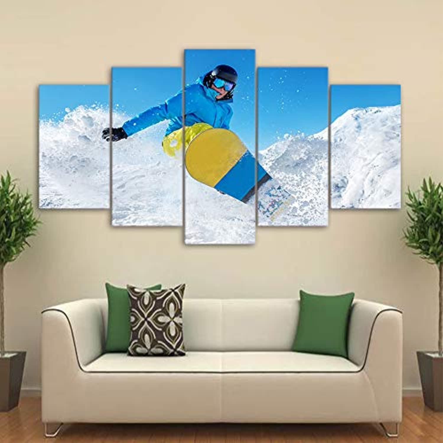 For Living Room Modern HD Printed Pictures 5 Piece Pcs Ski Snow Mountain Home Decor Framework Canvas Painting Poster