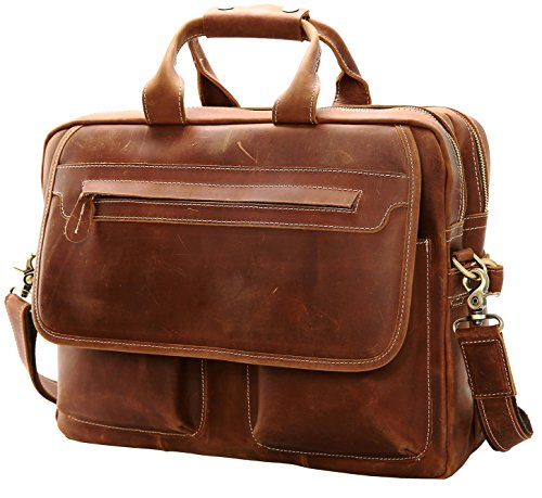 Iswee Leather Briefcase Fit under 16.5\' Laptop Tote Shoulder Bag for Men Messenger Satchel Work Case Handbags Crossbody (Light Brown, X-Large)