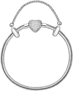 Pulseira em Prata com Fecho Coração Cravejado de Zircônia 16,5 cm