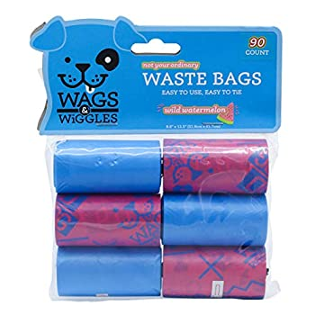 Wags & Wiggles Large Scented Dog Waste Bags   Watermelon Scented Dog Poop Bags   Waste Bags for All Dogs Great for Everyday Use and Dog Walking   6 Rolls of Doggie Bags 90 Count