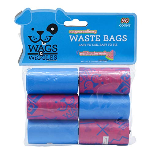 Wags & Wiggles Large Scented Dog Waste Bags   Watermelon Scented Dog Poop Bags   Waste Bags for All Dogs, Great for Everyday Use and Dog Walking   6 Rolls of Doggie Bags, 90 Count
