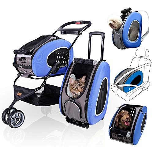 ibiyaya 5 in 1 Pet Carrier + Backpack + CarSeat + Pet Carrier Stroller + Carriers...