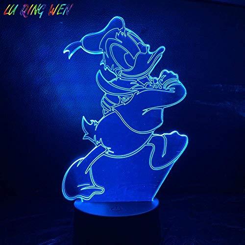 Lámpara de ilusión 3D Luz de noche LED Bebé Pato Donald para niños Dormitorio Ambiente Cambio de color USB Los mejores regalos de vacaciones de cumpleaños para niños