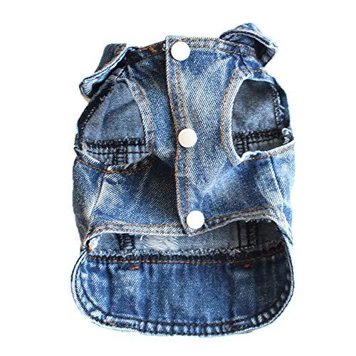 Sjimer hondenjas, kleding voor kleine honden, vintage washed denim jack jumpsuit blauwe jean kleding voor kleine huisdieren hond kat