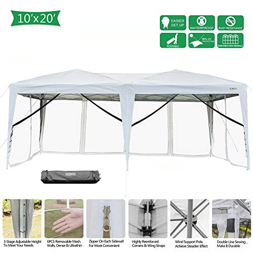 VINGLI 10x20ft Easy Pop Up Canopy Tent w/ 6 Removable Zippered Mesh Sidewalls & Portable Wheeled Carrying Bag, for Patio/Gazebo/Camping/Outdoor Activities, White UV Coated Sun Shade Shelter