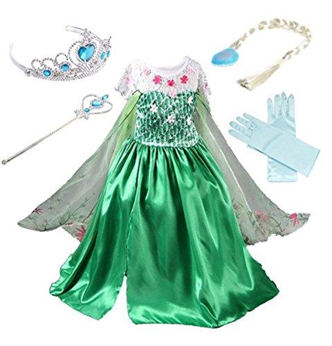 YOGLY Mädchen Prinzessin Elsa Kleid Kostüm Eisprinzessin Set aus Diadem, Handschuhe, Zauberstab, Größe 130, 14 Kleid und Zubehör