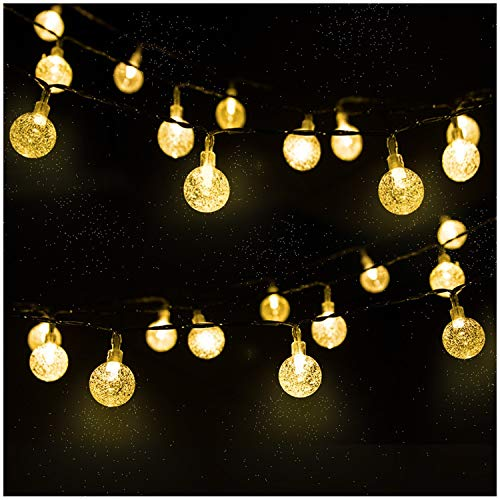 Guirlande Solaire Extérieure, Mr.Twinklelight 4.5m 30 LED Guirlande Lumineuse Boules Cristal avec 2 Modes d'éclairage Lumière Décoration pour Noël, Arbre, Jardin, Terrasse, Balcon, Blanc Chaud
