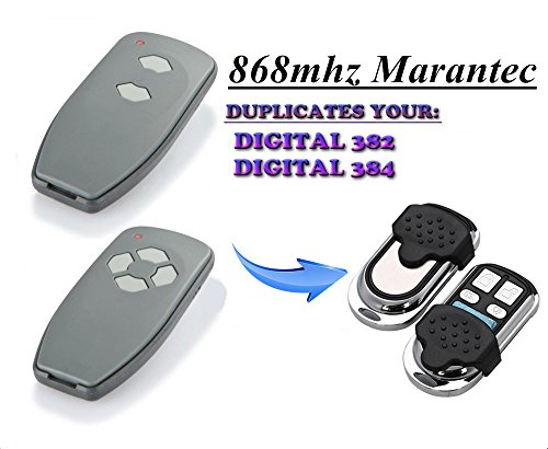 Kompatibel Marantec D382 | D384 Handsender Ersatz - 4 Kanal Garagentor Fernbedienung Sender, 868.3 Mhz