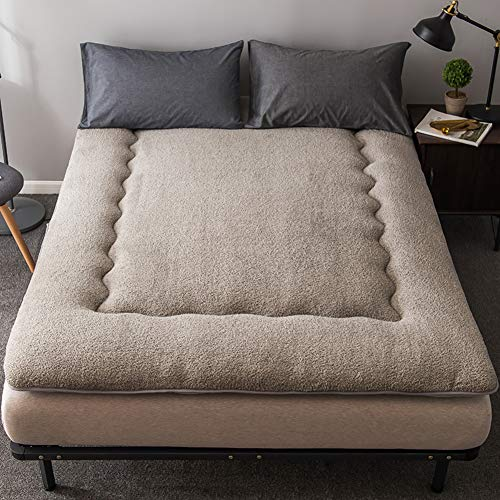 Tina Transpirable Gruesas Colchón de futón Tradicional japonés,Super Suave Pelusa de corderito Cachemira Dormitorio estudiantil-Gris 90x195cm(35x77inch)