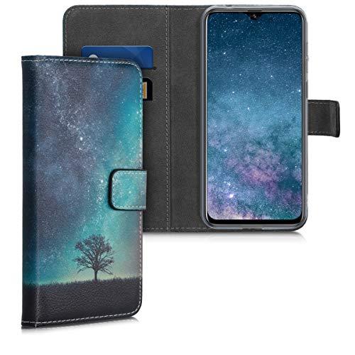 kwmobile Wallet Hülle kompatibel mit Ulefone Note 7 (2019) - Hülle Kunstleder mit Kartenfächern Stand Galaxie Baum Wiese Blau Grau Schwarz
