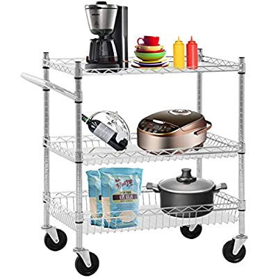 Heavy Duty Utility Cart Wire 3 Tier Rolling Cart Organizer NSFKitchenCart on Wheels Metal Serving Cart Commercial Grade with Wire Shelving Liners and Handle Bar for Kitchen Office Hardware,Chrome by FDW