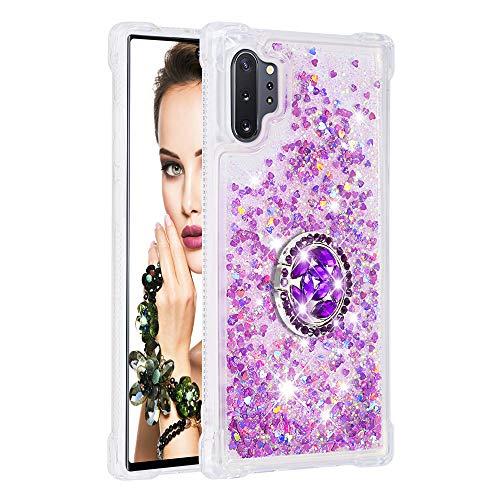 Coque pour Samsung Galaxy Note10+/Note10 Pro 5G,Brillante Cristal Diamant Anneau Socle de téléphone Liquide Dégradé Transparente Silicone TPU Étui Antichoc Coques(Rose Rouge)