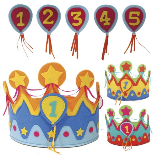 Folat Kinder-Geburtstags-Krone für Jungs & Mädchen mit auswechselbaren Zahlen von 1 - 5 // Geburtstag Verkleidung Verkleiden Boy Girl Kinder Kindergeburtstag Geburtstagskind
