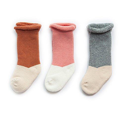 VWU Lot de 3 Paires Unisexe Bébés Filles Garçon Infant Antiderapants Haute Stockage Épais Terry Chaussettes de Nouveau-Nés Au Cours des Mi-chaussettes Bebes Chaussettes en Coton (0-6 mois, S4)