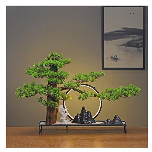 kerryshop Planta Artificial Creative Simulation Green Plants New Chinese Welcome Pine Decoración Sala de Estar Hotel Home Entrada Oficina Decoración Regalo ARBO Artificial (Color : C)