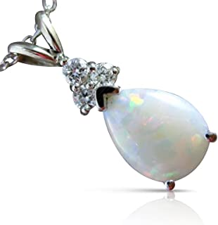 Milano Jewelers .77CT DIAMOND & OPAL 14K WHITE GOLD 3D PEAR SHAPE FLOATING PENDANT #25447
