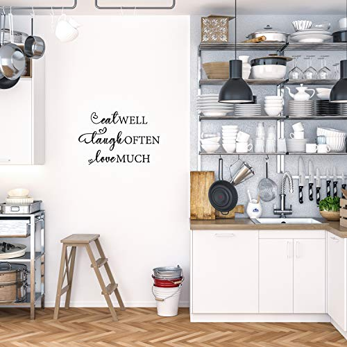 My Vinyl Story - Kitchen - Decor Kitchen Wall Decals Quote for Family Dining Room Home Decoration Art Words and Saying Sticker Sign Family Decor Removable Vinyl Lettering Gift (Eat Laugh Love)